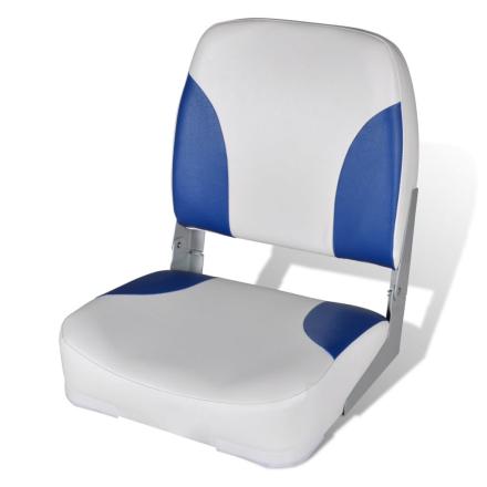 vidaXL Båtstol med Sammenleggbar Ryggstøtte og Blå Pute 41 x 36 x 48 cm