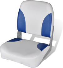 vidaXL Båtstol vikbar med blåvit kudde 41x36x48 cm