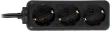 DELTACO grenuttag 3xCEE 7/4 1xCEE 7/7 1,5m svart