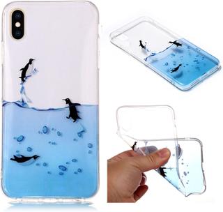 iPhone 9 Plus beskyttelses deksel av TPU med IMD Printet mønster som er selvlysende - svømmende pingvin