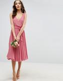ASOS WEDDING Bow Front Midi Dress - Beige