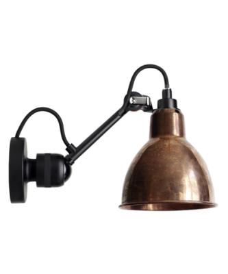 304 Vegglampe Svart/Raw Kobber - Lampe Gras