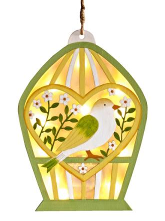 Hengende pynt fuglehus grønn