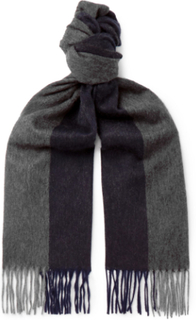 Arran Fringed Two-tone Cashmere Scarf - Navy