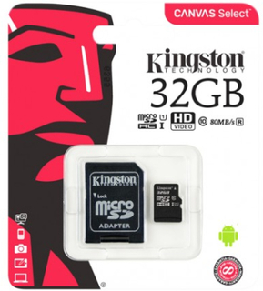 Kingston Canvas Select microSDHC-kort, 32GB, Klass 10 UHS-I - Kingston
