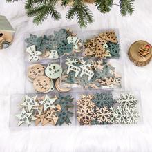 24 Stück kreative hölzerne ausgehöhlte Weihnachtsverzierung Weihnachtsbaumdekoration DIY Weihnachtsdekoration
