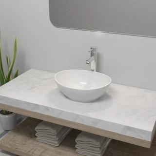 vidaXL Baderomsvask med kran keramisk oval hvit