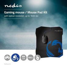 Nedis Set med gaming mus och musmatta | Trådbunden mus | 1600 DPI | 6 knappar