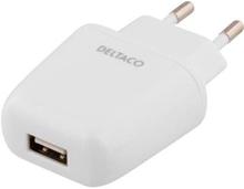 Adapter ström 230V till 5V USB 2,4A Typ A ho, vit