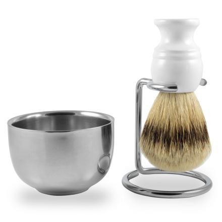 Hvid Silvertip Badger Barbersæt