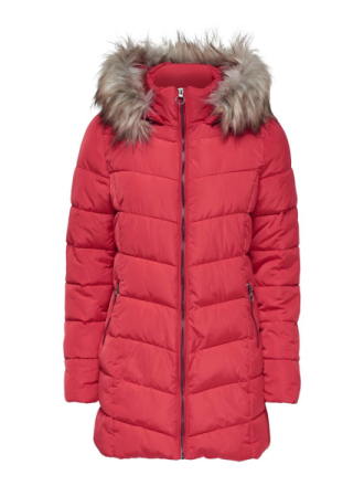 ONLY Long Quilted Jacket Women Red