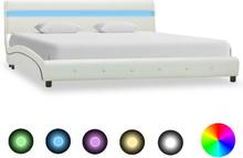 vidaXL Sängram med LED vit konstläder 160x200 cm