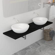 vidaXL Badrumsmöbler svart 160x40x16,3 cm