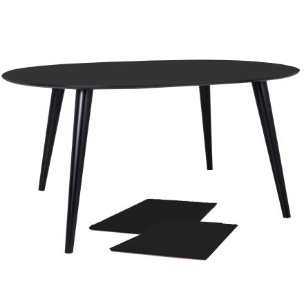 Nora Rundt Spisebord Ø120 cm - Sort/Sort Spisebord inkl. 2 x tillægsplader (Levering fra uge 9)