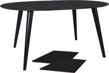 Sort rundt spisebord med udtræk 120/160/200 cm, 2 stk tillægsplader - Nora (LEVERES FRA UGE 39)