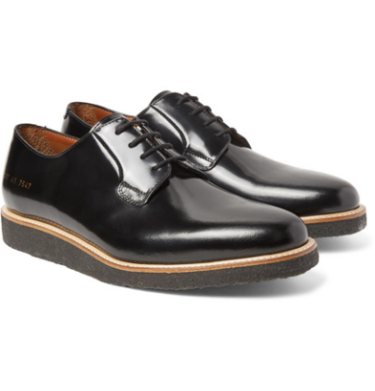 Polished-leather Derby Shoes - Black