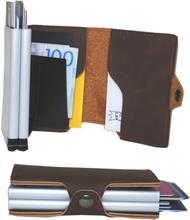 Plånbok med dubbla korthållare Safecard Konstläder Mörkbrun