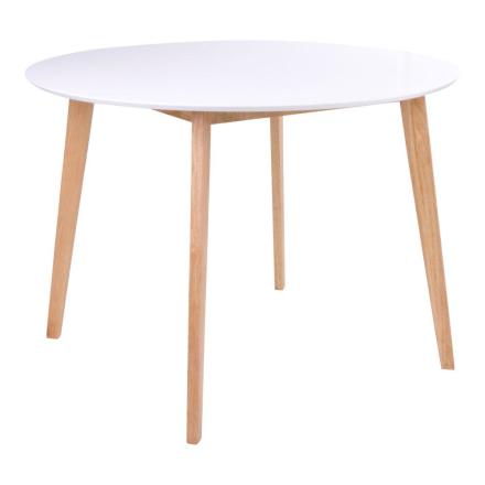 Bjørk Rundt Hvidt Spisebord Ø105