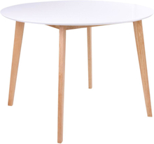 Hvidt rundt spisebord Ø105 cm m. træ ben (egefarvet) - Bjørk
