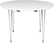 Belis hvidt rundt spisebord med udtræk 110/160 cm med 1 stk tilllægsplade