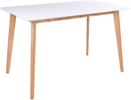 Hvidt spisebord 120 cm m. træ ben (egefarvet) - Bjørk
