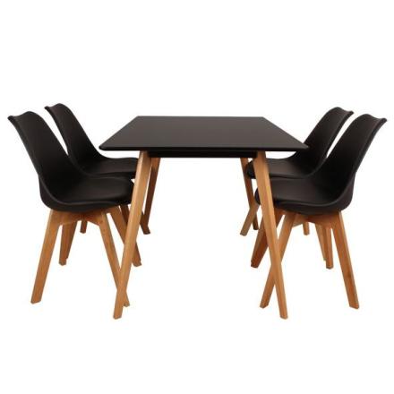 Nordic sort spisebordssæt 120 cm.