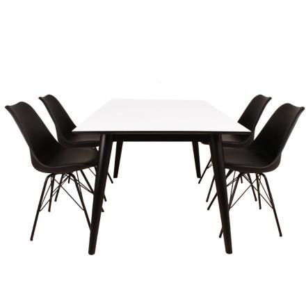 Spisebordssæt - Spisebord 150 cm m. tillægsplader + 4 x Sort Comfort stole