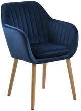Mynte blå velour stol med armlæn