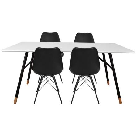 Spisebordssæt - Vero Spisebord 160 cm + 4 x Sort Comfort stole