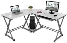 L-formet hjørneskrivebord med glidende tastatur, Hvid