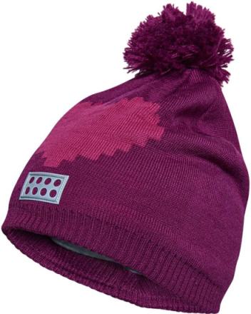 Agata 711 Girls Knit Hat Tummanpunainen 54