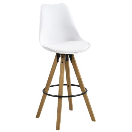 Shell Hvid Barstol 75 cm (stort sæde) - Plastik & Træben
