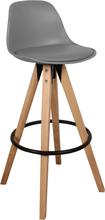 Shell Grå Barstol 75 cm - Plastik & Træben
