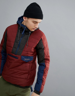 Columbia Norwester Anorak Hooded in Red/Navy - Red