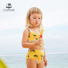 CUPSHE 2019 Toddler Girls Kids Baby Yellow Floral Printed Front Tie Bikini