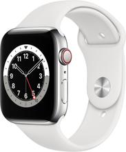 Apple Watch Series 6 (6. Gen 2020) GPS + Cellular 44mm Silver Aluminum White sport band Hvid