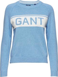 O1. Cotton Gant Logo Crew Strik Blå GANT