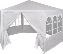vidaXL Partytält med 6 sidoväggar vit 2x2 m