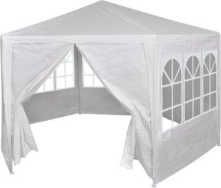 vidaXL Festtelt med 6 sidevegger 2x2 m hvit