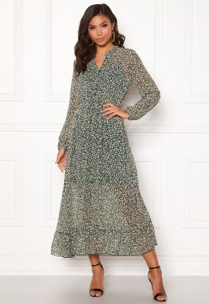 ONLY Lucia Ditzy Long Dress Dark Green 38