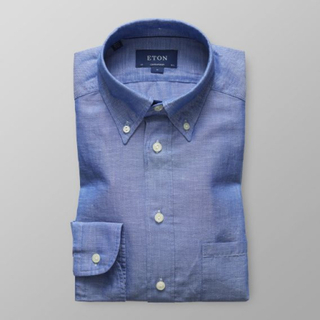 Eton Contemporary fit Blå skjorta i bomull & hampa