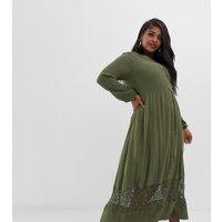 Junarose textured maxi dress with lace detail - Green