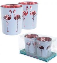 2 stk Telysholdere med Flamingo Motiv
