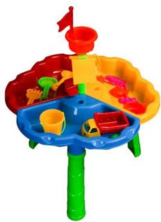 Lekebord til sand og vann - med masse tilbehør