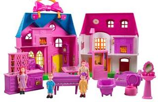 Dukkehus i lyserød med dukker og møbler