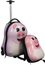 Børne trolley på hjul og rygsæk - Lyserød gris - Sæt til børn