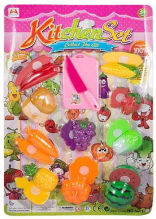 Legetøjs sæt med frugt og grønt. 22 dele ialt
