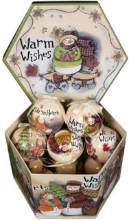 Julekugler med snemænd og tekst - Pakke med 14 stk. Måler 7,5 cm i diameter
