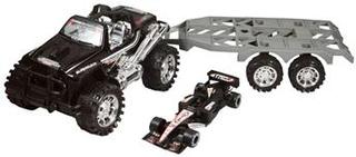 Legetøjs Firhjulstrækker - Med anhænger - og racerbil
