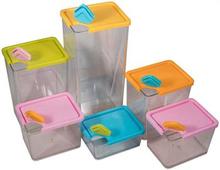 Opbevaringsbokse med låg til madopbevaring - 6 stk